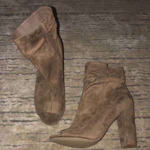Tan peep toe bootie